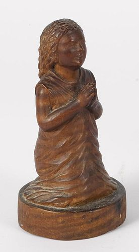 Pennsylvania carved tiger maple figure of a young girl praying, 19th c., initialed on base A.C.T.