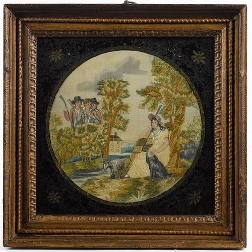 Paint and chenille on silk embroidered picture, early 19th c., of a young woman in a landscape wit