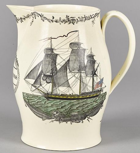 Large Liverpool Herculaneum pitcher, 19th c., with transfer decoration of Washington in Glory, the