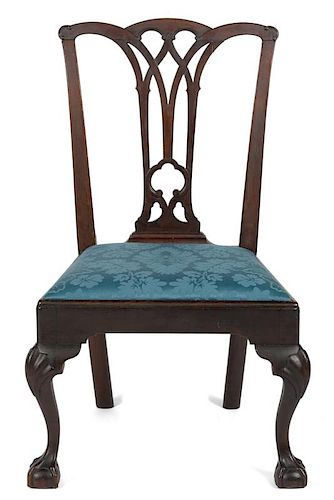 Philadelphia Chippendale mahogany dining chair, ca. 1770, with a gothic splat and shell carved kne