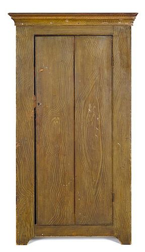 Pennsylvania painted poplar cupboard, 19th c., retaining its original grain decoration, 70 1/2'' h.