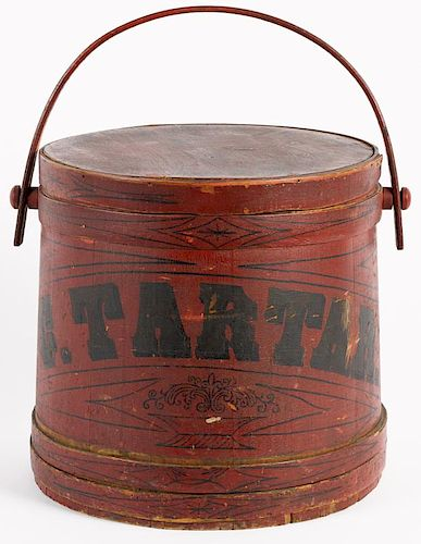 Large Maine painted pine firkin, inscribed C. Tarter, initialed J. C. L. on lid, also impresse