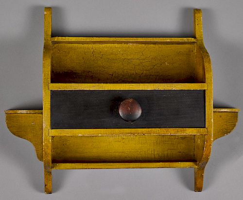Unusual painted pine hanging shelf, inscribed A Present From Me January 1st, 1873, with a single