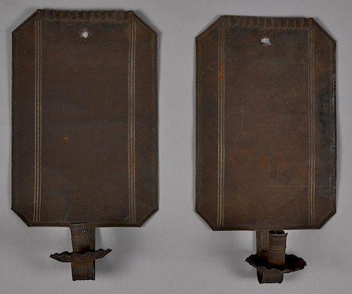 Pair of tin sconces, 19th c., 14 3/4'' h., 8'' w.