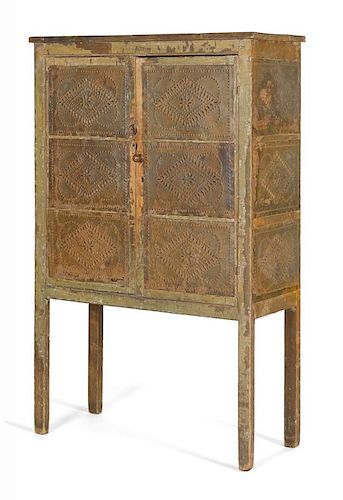 Painted pine pie safe, 19th c., with punched tin panels, retaining an old green surface, 58 1/2'' h