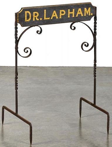 Painted wood and iron trade sign for Dr. Lapham, ca. 1900, 30 1/2'' x 21''.