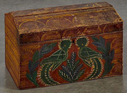 Painted pine dome lid box, 19th c., retaining its original red and yellow sgrafitto decoration wit