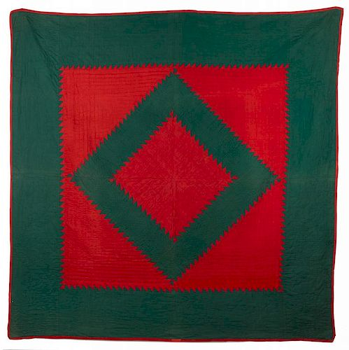 Amish red and green sawtooth quilt, early/mid 20th c., 76'' x 74''.