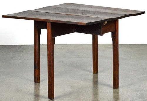 Diminutive Pennsylvania Chippendale walnut and cherry drop leaf table, ca. 1780, 27'' h., 13'' w., 3