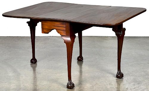 Pennsylvania Chippendale mahogany drop leaf dining table, ca. 1770, with ball in claw feet, 27 3/4