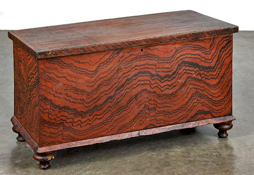 Pennsylvania or Ohio painted poplar blanket chest, 19th c., retaining its original red and black s