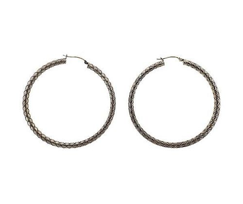 Bottega Veneta Silver Woven Hoop Earrings
