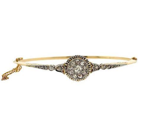 Antique 18K Gold Platinum Diamond Bangle Bracelet