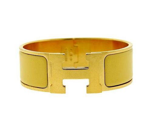 Hermes H Vermeil Gold Tone Enamel Bangle Bracelet