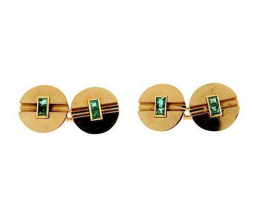 18K Gold Green Stone Cufflinks