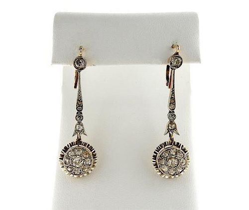 Antique 18K Gold Platinum Diamond Dangle Earrings