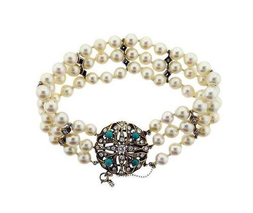 14K Gold Diamond Pearl Three Strand Bracelet