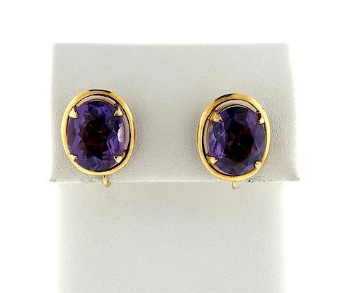 14K Gold Purple Stone Oval Earrings