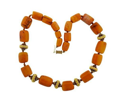 18K Gold Amber Necklace