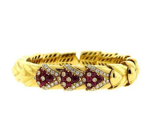 18K Gold Diamond Red Stone Flexible Cuff Bracelet