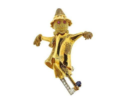 18k Gold Diamond Scarecrow Brooch Pin
