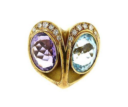 14k Gold Blue Stone Amethyst Diamond Ring