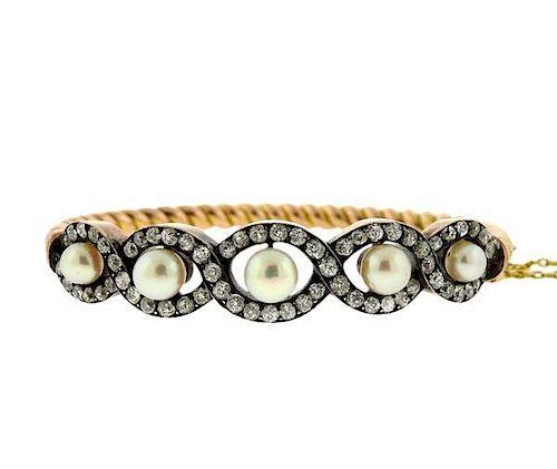 Antique 18K Gold Diamond Pearl Bangle Bracelet