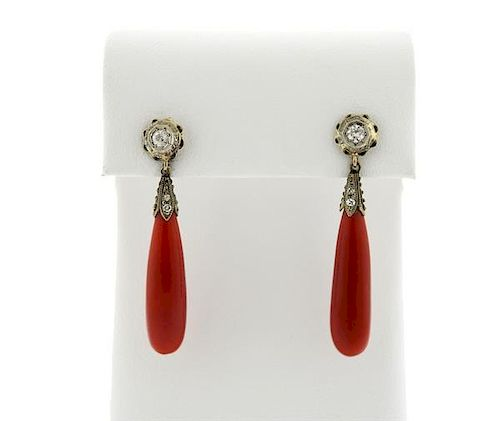 Antique 14k Gold Red Coral Diamond Drop Earrings