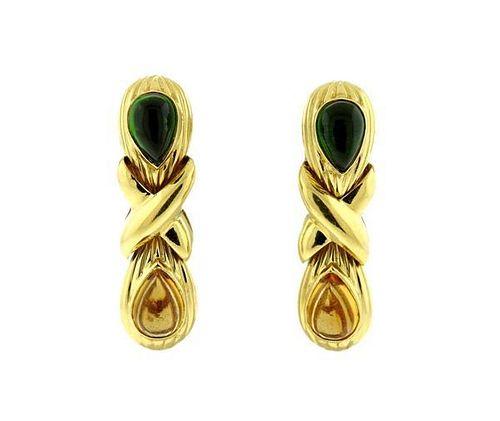 18k Gold Tourmaline Citrine Earrings