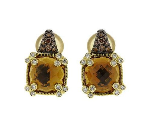 Judith Ripka 18k Gold Citrine Diamond Earrings