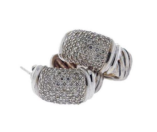 David Yurman 18K Gold Sterling Diamond Hoop Earrings