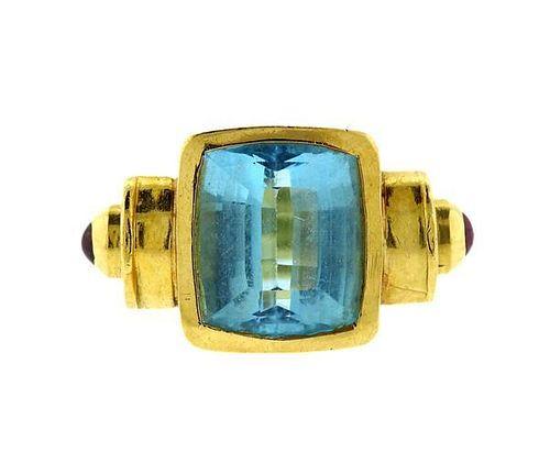 Large Blue Topaz Tourmaline 18k Gold Ring