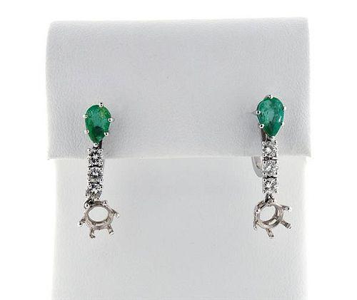 Platinum Emerald Diamond Drop Earrings