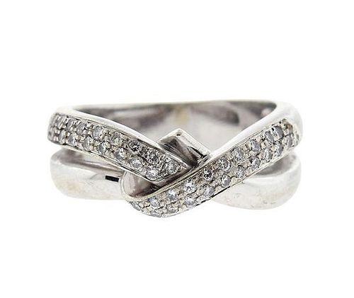 18k Gold Diamond Crossover Ring