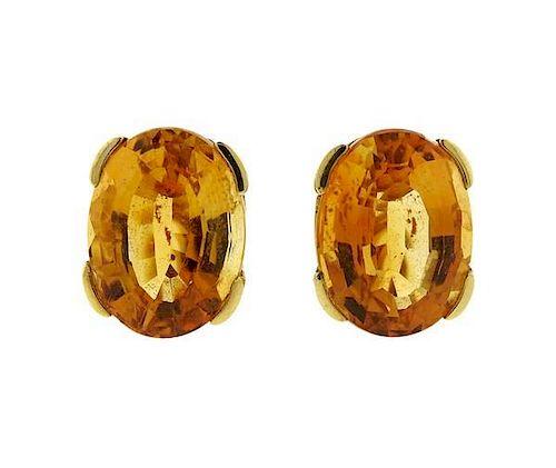 14k Gold Yellow Stone Oval Earrings