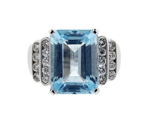 18K Gold Diamond Blue Gemstones Ring