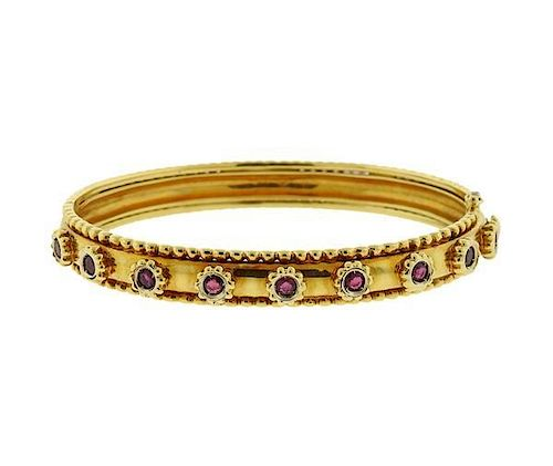 18K Gold Red Stone Bangle Bracelet