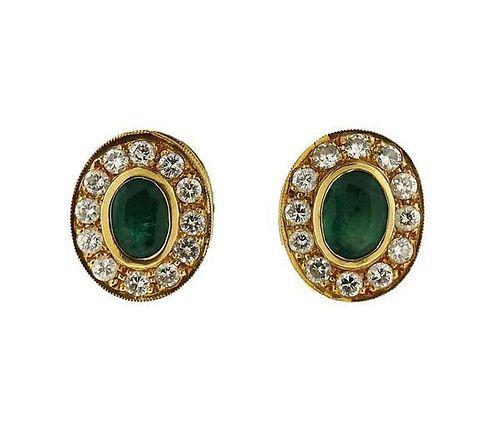 18K Gold Diamond Green Stone Oval Earrings