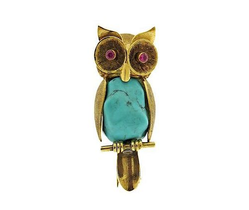 German 14K Gold Turquoise Pink Stone Owl Brooch Pin