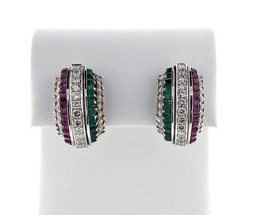 Platinum Diamond Red Green Stone Half Hoop Earrings