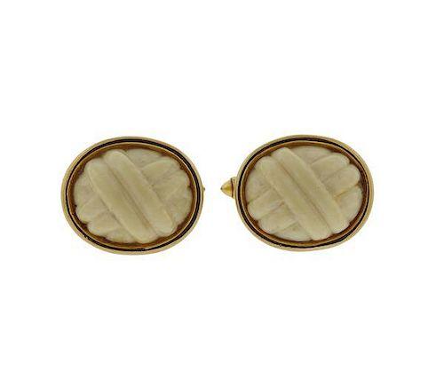 14k Gold Carved White Stone Cufflinks