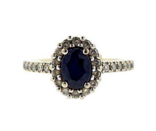 14K Gold diamond Blue Stone Engagement Ring