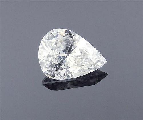 GIA 0.85ct F I2 Pear Cut Loose Diamond