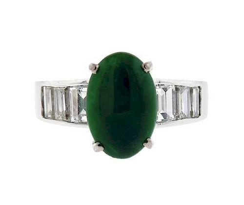 18K Gold Green Stone Diamond Ring