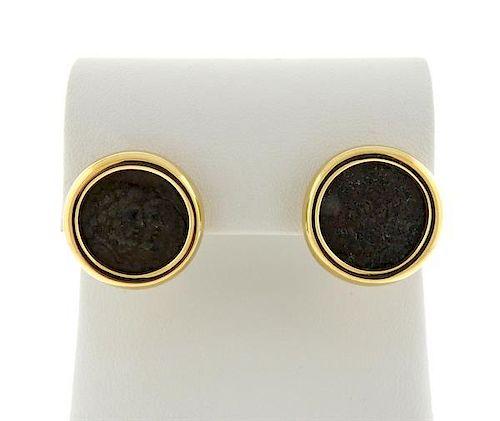 Bvlgari Bulgari 18K Gold Ancient Coin Earrings