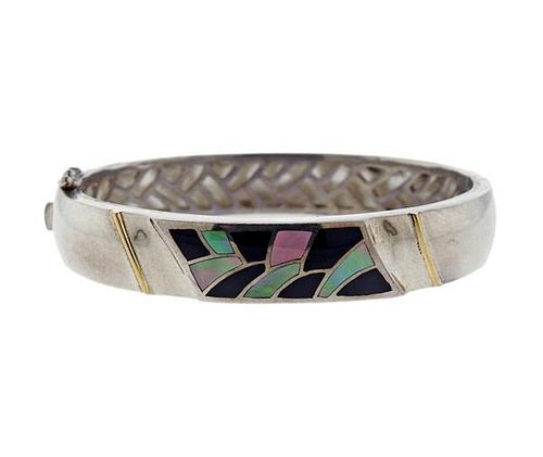 Bagley & Hotchkiss 18k Gold Sterling Gemstone Inlay Bracelet