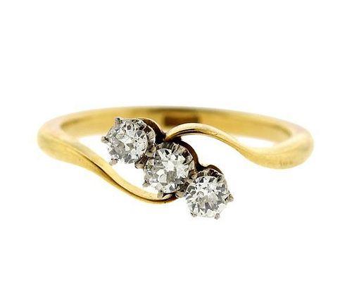 Antique 18k Gold Old Mine Diamond 3 Stone Ring