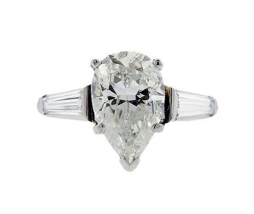 Platinum 3.58ct Pear Diamond Engagement Ring