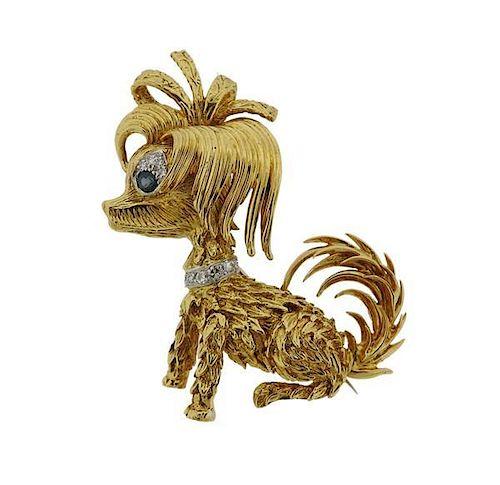 Kutchinsky 18K Gold Diamond Blue Stone Dog Brooch