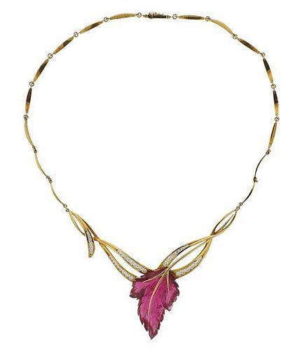 18K Gold Diamond Pink Stone Leaf Motif Necklace
